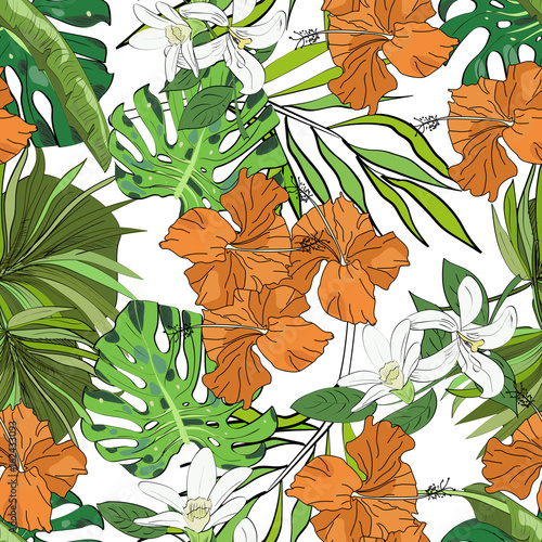 Fototapeta Seamless vector pattern of hand drawn flowers and leaves. Tropical background.
