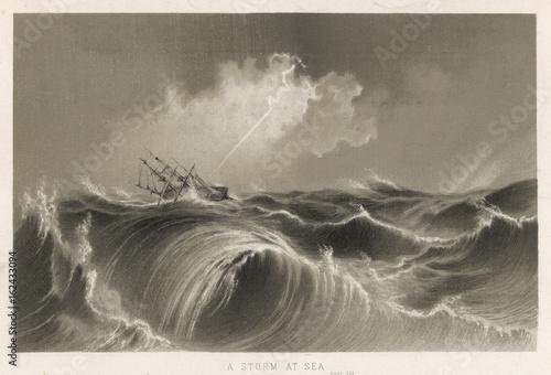 Lightning Strikes Ship. Date: circa 1850 Poster