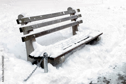 New York City Bench after Snow Storm Poster