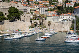 A view of the old harbour from the old town walls of Dubrovnik, Croatia - 162439667