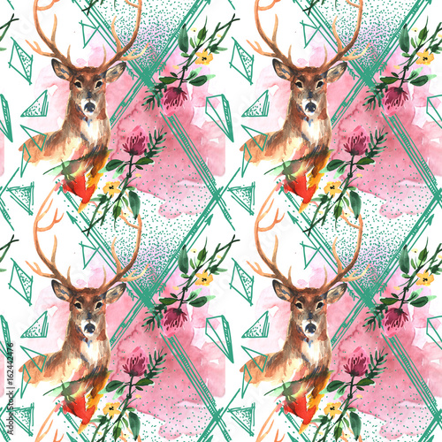 watercolor illustration deer - 162442476