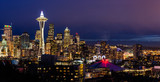 Seattle skyline and Mt. Rainier at dusk
