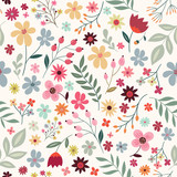 Seamless pattern with flowers and plants - 162462638