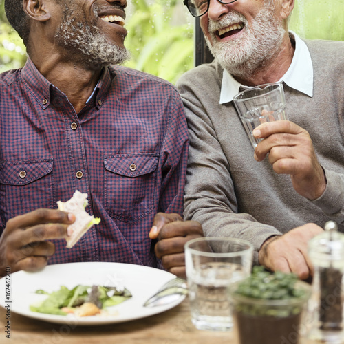 Senior Men Relax Lifestyle Dining Concept