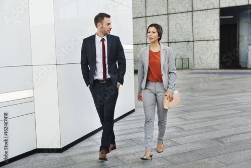 Business People Partner Walking Talking Concept