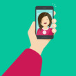 Selfie via smartphone making a photo of yourself vector illustration, flat cartoon young happy girl with mobile phone in hand make self photo