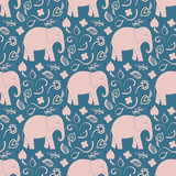 Seamless pattern with elephants and flowers. Background for textile, baby shower, greeting card, wrapping. Flora oriental l ornament.