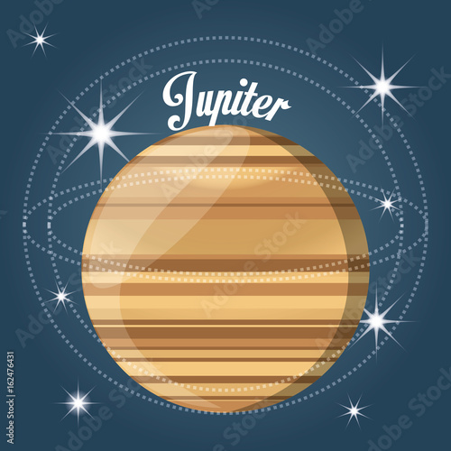 jupiter planet in the solar system creation vector illustration
