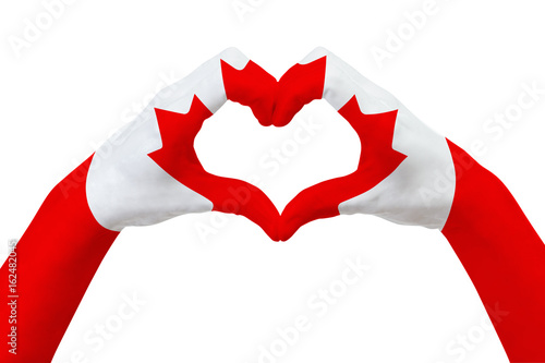 Keuken foto achterwand Canada Hands flag of Canada, shape a heart. Concept of country symbol, isolated on white.