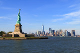 skyline of Manhattan with the Statue of Liberty in New York City - 162485688