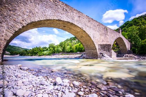 Poster ancient medieval bridge - italian landscape Emilia Romagna Italy