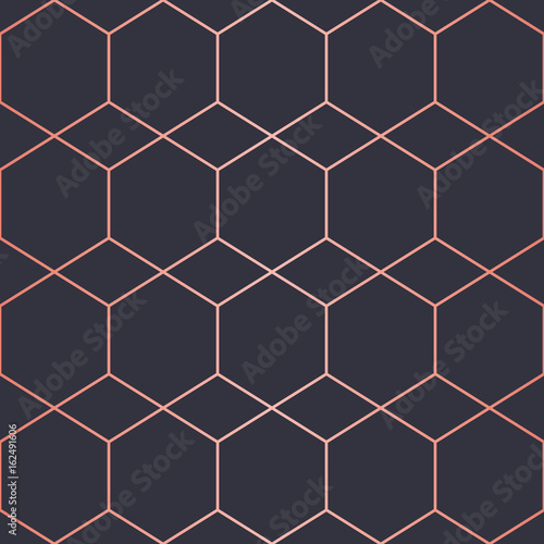 Geometric pattern consisting of lines. Trendy Copper Metallic look. - 162491606