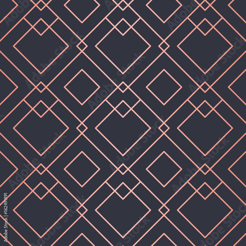 Geometric pattern consisting of lines. Trendy Copper Metallic look. - 162491891