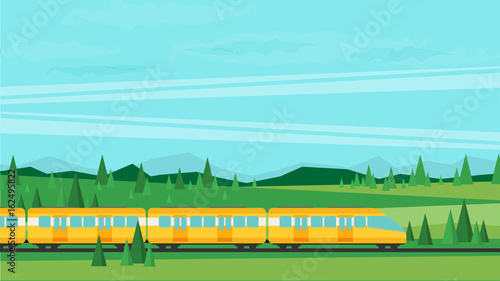 Fotobehang Lichtblauw Train on railway. Vector travel concept background.