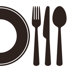Plate, knife, fork and spoon