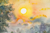 Watercolor original landscape painting yellow red color of sunshine and cloud background
