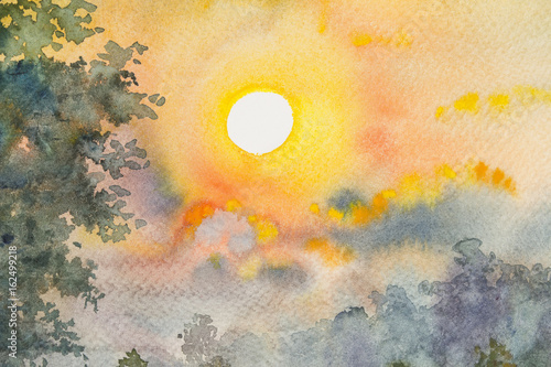 Fotobehang Oranje Watercolor original landscape painting yellow red color of sunshine and cloud background