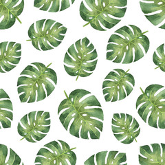 Watercolor seamless pattern with tropical leaves isolated on white background. © elenamedvedeva
