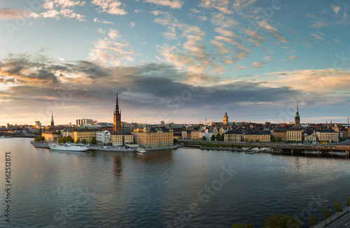 Stockholm sunset with island Riddarholmen and old town Gamla Stan