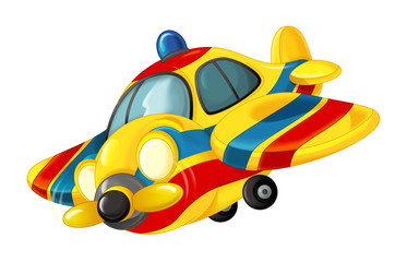 cartoon happy traditional ambulance or rescue plane with propeller - flying