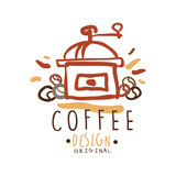 Coffee label original design, hand drawn vector Illustration, logo template
