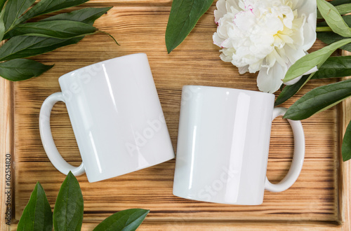Poster Two white mugs, cups wedding mockup