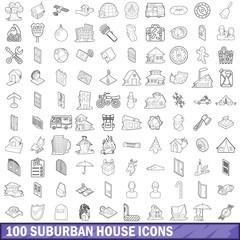 100 suburban house icons set, outline style