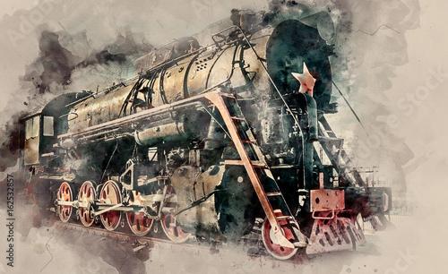 Stara Stara parowa lokomotywa na zmierzchu tle. Pociąg w stylu vintage. Tło akwarela