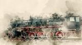 Stare lokomotywy parowe XX wieku. Tła akwarela