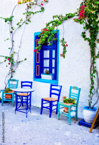 Charming traditional street bars and tavernas of Greece. Kos island