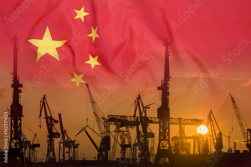Industrial concept with China flag at sunset Poster