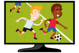 Vector illustration of TV set showing cartoon football match with two players chasing after ball isolated on white background
