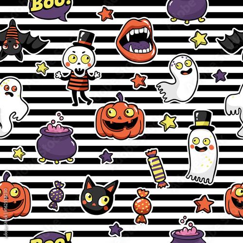 Materiał do szycia Halloween seamless pattern in cartoon comic style.