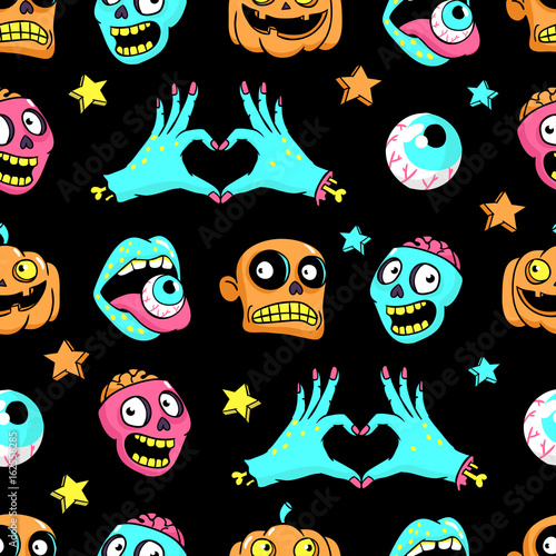 Cotton fabric Halloween seamless pattern in cartoon comic style.