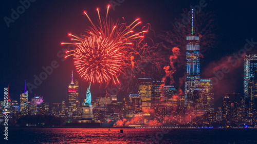 Fireworks over the Statue of Liberty