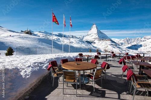 Matterhorn and Zermatt in the Swiss Alps during winter, Switzerland Poster