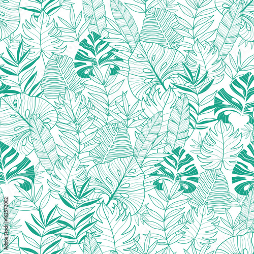 Cotton fabric Vector green tropical leaves summer hawaiian seamless pattern with tropical green plants and leaves on navy blue background. Great for vacation themed fabric, wallpaper, packaging.