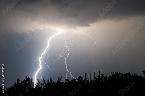 lightnings and thunder bold stike at summer storm Poster