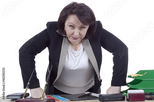 Terrible business woman at work desk Poster