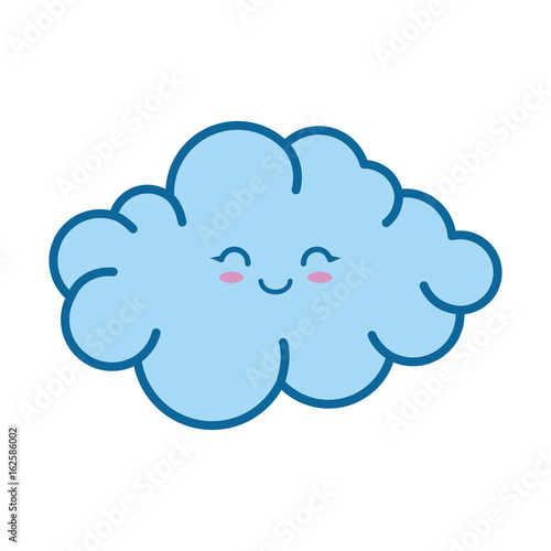 kawaii cloud icon over white background colorful design vector illustration - 162586002