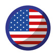 button with usa country flag icon over white background vector illustration