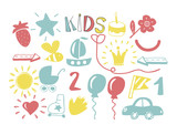 Color hand drawn icons for children.