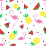 Fototapety Vector seamless tropical crazy colors pattern. Pineapple, flamingos, watermelon. Very bright colorful cute cartoon background (wallpaper, fabric). Childish style, abstract pop art