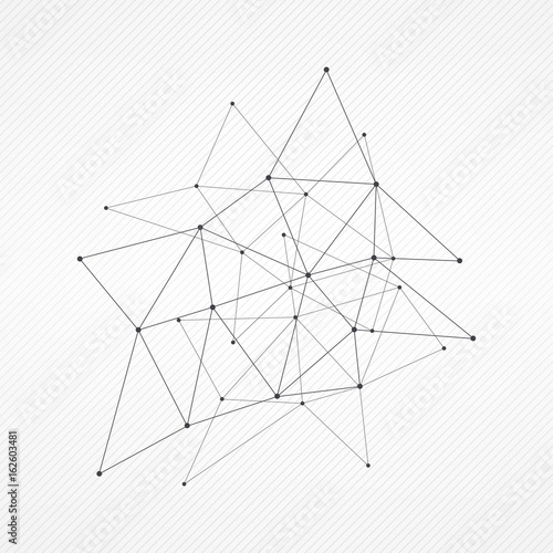 Abstract Vector Triangle Pattern Gray Polygonal Network On Striped