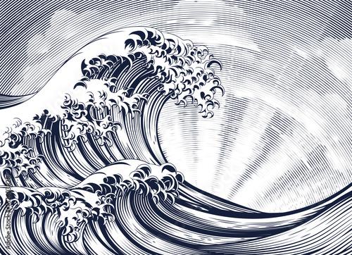 Japanese Oriental Wave Etching Engraved Woodcut