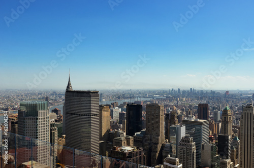 New York City skyline from viewpoint, urban skyscrapers of Manhattan aerial view