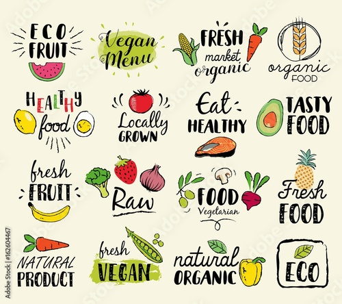 Fototapeta Healthy food hand drawn illustrations and elements for fresh market, eco food, vegan menu, natural products
