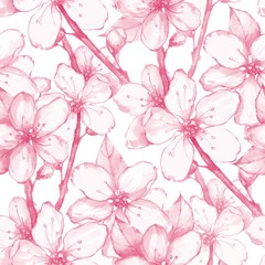 Japanese garden 20. Seamless floral pattern. Watercolor painting. Flowers and leaves