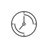 Clock line icon, outline vector sign, linear style pictogram isolated on white. Time symbol, logo illustration. Editable stroke. Pixel perfect graphics