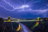 Lightning Over Suspension Bridge - 162607861